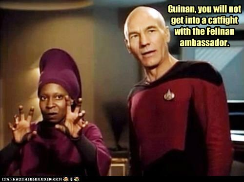 ambassador Captain Picard cat fight clawing growling Guinan patrick stewart scratching Star Trek Star trek the next genera Star trek the next generation whoopi goldberg - 6279915264