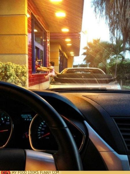 baby,car,drive thru,payment