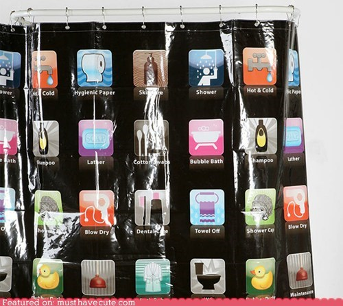 apple apps bathroom shower shower curtain