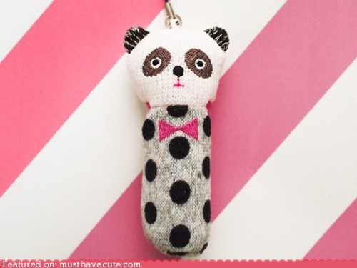 case cosmetics cover lip balm panda