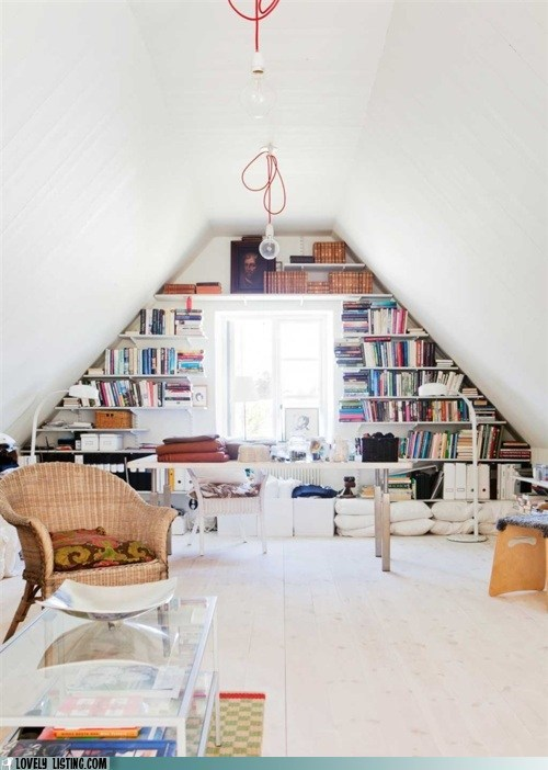 attic bookcase shelves