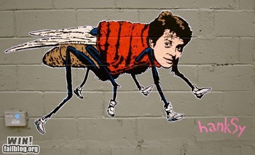 back to the future banksy graffiti hacked irl Hanksy marty mcfly pun Street Art - 6280293632