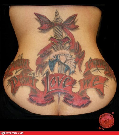 back tattoo,bird,daddy didn't love me enou,daddy-didnt-love-me-enough,sword