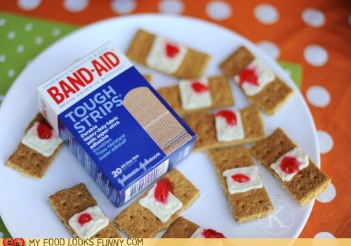 band aids,bandages,Blood,cookies,crackers,frosting,graham crackers