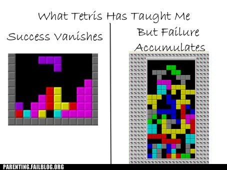 failure accumulates success vanishes tetris