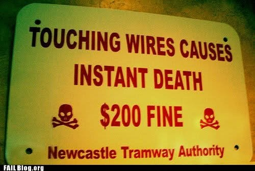 Death,fine,newcastle tramway authori,sign,wires