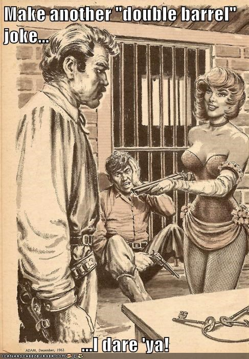 drawing gun jail man scantily clad woman - 6281769216