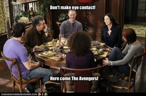 Don't make eye contact! Here come The Avengers!
