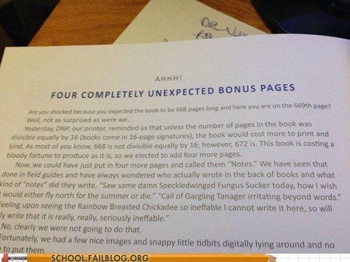 bonus pages,g rated,School of FAIL,textbooks,unexpected