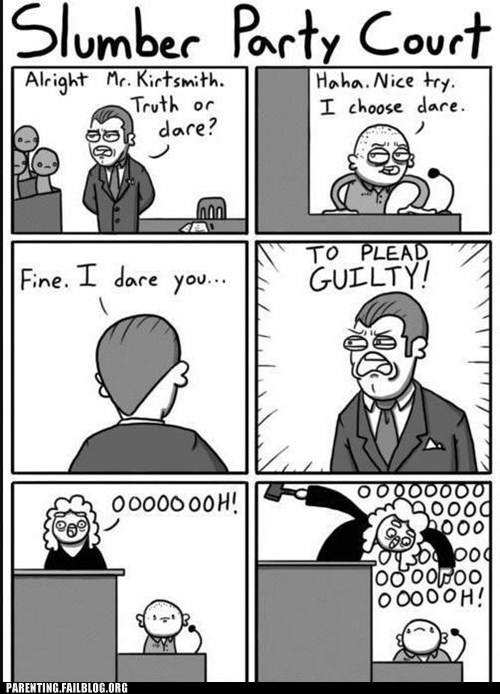 plead guilty comic,slumber party court,truth or dare