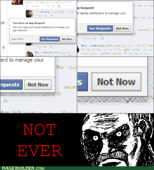 all that racket,facebook,not now,Rage Comics