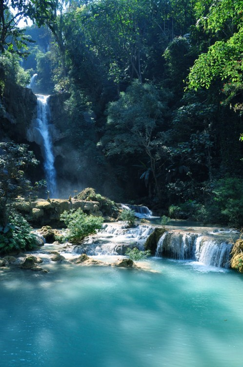 jungle laos river waterfall - 6283447296