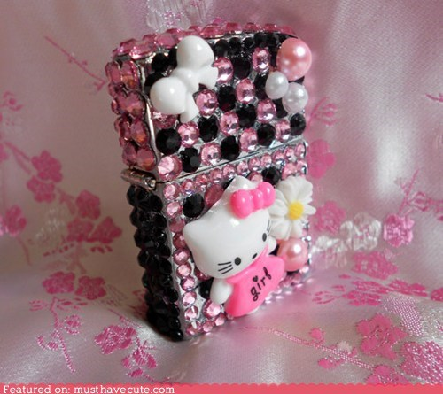 Bling decorated hello kitty lighter zippo