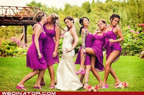 bride bridesmaids funny wedding photos Hall of Fame hot mess KISS sexy tattoos