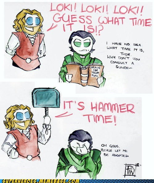 Awesome Art,best of week,hammer time,loki,Thor,time