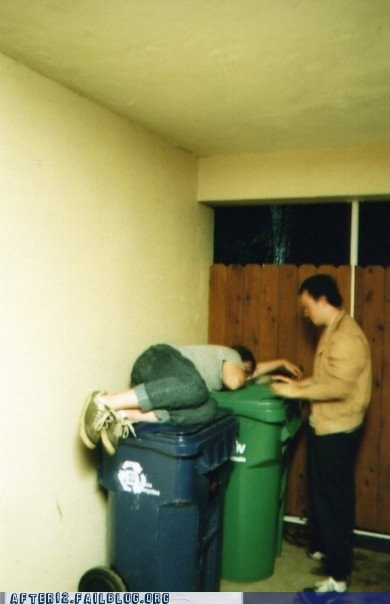 bin,binge drinking,passed out,recycle bin,trash bin,trash can,waste bin