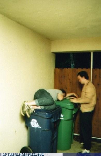 bin binge drinking passed out recycle bin trash bin trash can waste bin - 6284092416