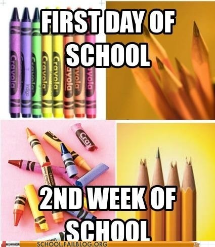 2nd week of school,crayons,everything is ruined,first day of school,pencils