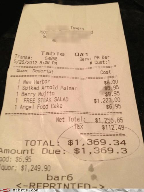 free money priceless receipt restaurant steak salad - 6284565504