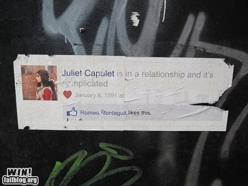 facebook,hacked irl,romeo and juliet,shakespeare,Street Art