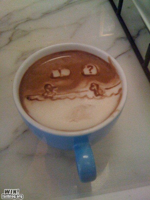 coffee coffee art latte latte art mario nerdgasm nintendo Super Mario bros - 6284748288