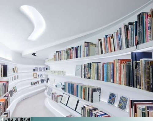 bookcase curves shelves white