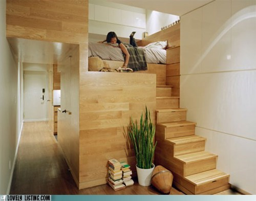 apartment,bed,small,stairs
