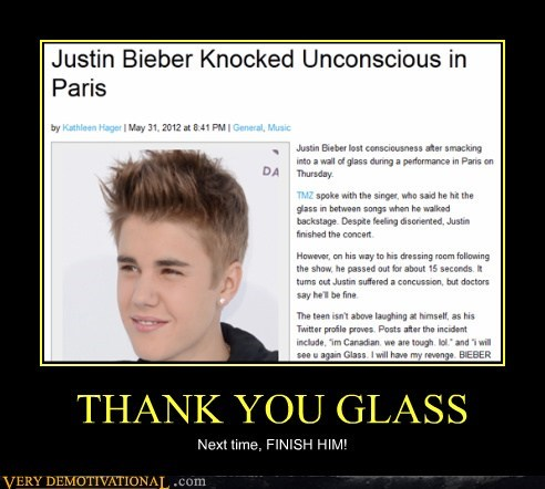 glass,hilarious,justin bieber,knocked unconscious