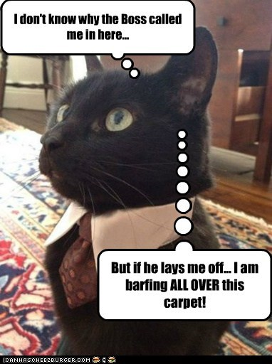 I don't know why the Boss called me in here... But if he lays me off... I am barfing ALL OVER this carpet!