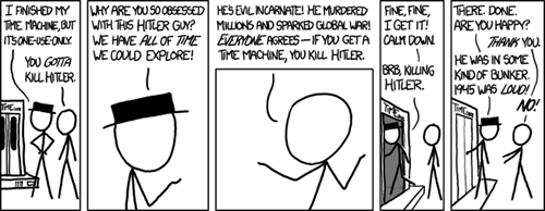 doing it wrong,everyone agrees,killing hitler,time travel,xkcd