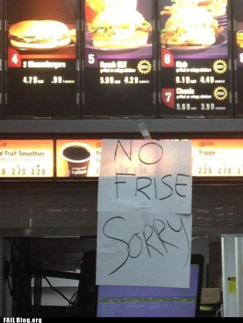 fries,McDonald's,misspelling,sign