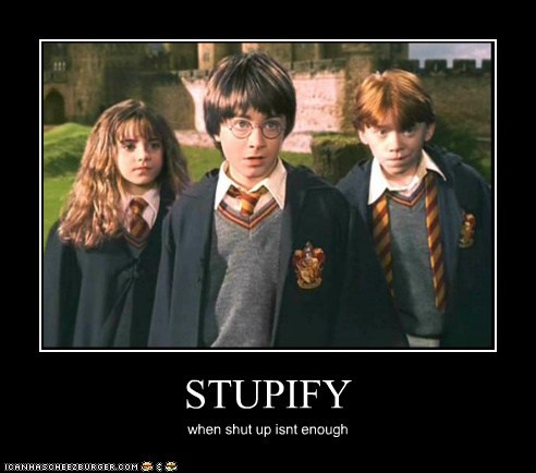 Daniel Radcliffe emma watson harry Harry Potter hermione granger Ron Weasley rupert grint shut up spell - 6286733312