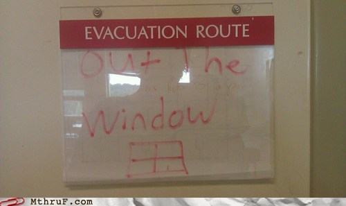 evacuation plan fire safety jump out the window out the window