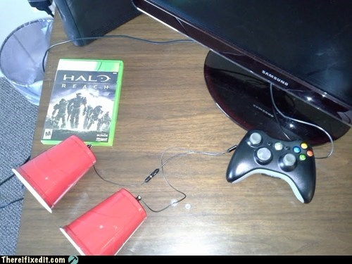amplification,can and string,earbuds,halo reach,headphoness,red cup,Red Solo Cup,sound amplification,telephone,tin can,tin can phone,xbox 360