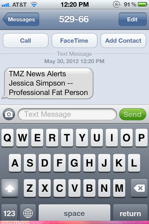 celeb funny Jessica Simpson news text TMZ - 6287123968