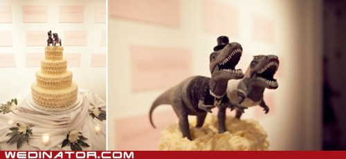 cake toppers dinosaurs funny wedding photos Hall of Fame wedding cakes - 6287361024