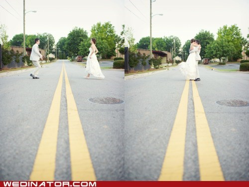 bride,funny wedding photos,groom,KISS,street