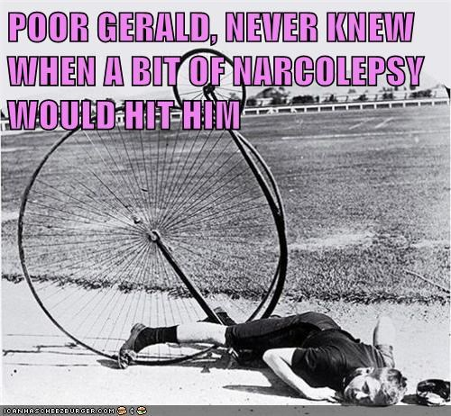 bike fall narcolepsy pennyfarthing sleep