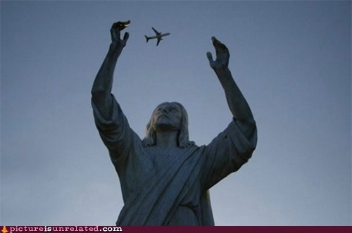 jesus,plane,statue,well timed photograph,wtf