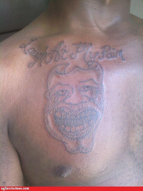 chest tattoos comedy and tragedy masks laugh at my pain - 6288702464