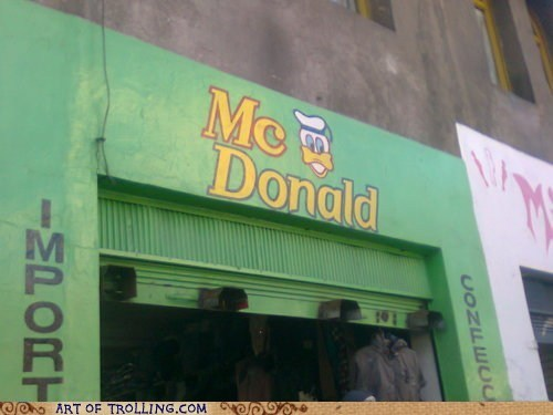 dolan duck,IRL,McDonald's,sign