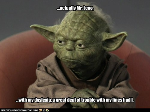 acting dyslexia explanation interview jay leno lines star wars talk show the tonight show trouble yoda
