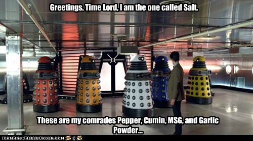 best of the week,comrades,cumin,daleks,doctor who,garlic,Matt Smith,MSG,pepper,salt,spices,the doctor,Time lord