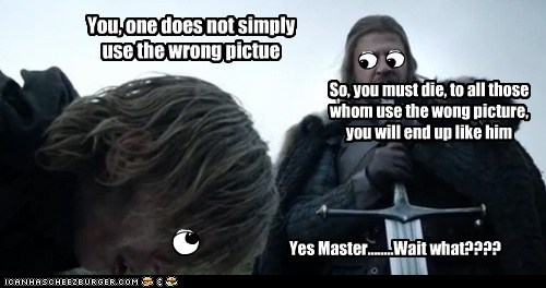 You, one does not simply use the wrong pictue So, you must die, to all those whom use the wong picture, you will end up like him Yes Master........Wait what????