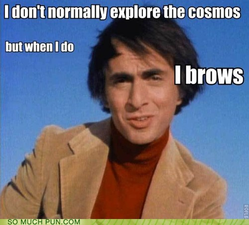 brows carl sagan eye eyebrows homophone I