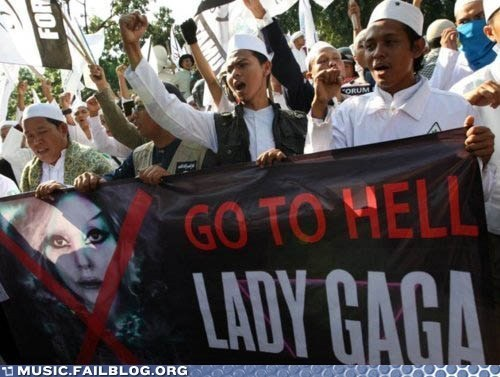 christianity,hell,indonesia,lady gaga,Protest