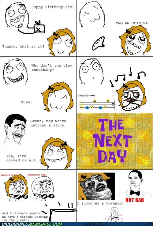 ocarina rage comic song of storms tornado zelda - 6293167104