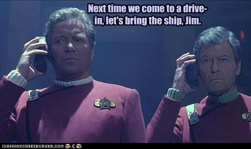 Captain Kirk,DeForest Kelley,drive in,McCoy,Movie,next time,Shatnerday,speakers,Star Trek,William Shatner