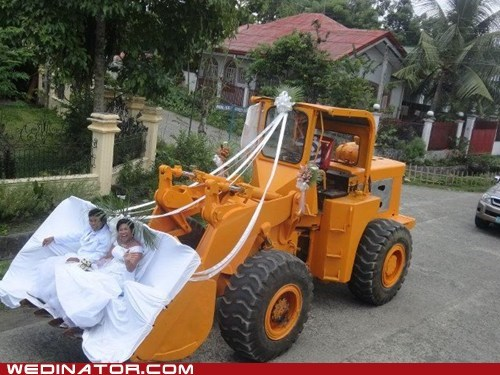 bride construction equipment funny wedding photos groom - 6294374400