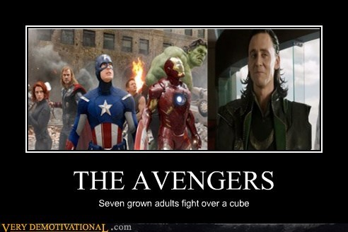 THE AVENGERS Seven grown adults fight over a cube